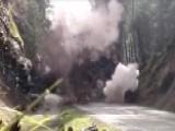 200-ton Boulder Blocking Highway Blasted To Bits