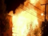 Apartment Building Engulfed In Flames Following Explosion