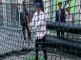 Adam Klotz Takes A Swing In The Batting Cage