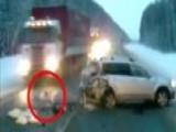 Baby Nearly Run Over On Russian Highway