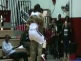 Basketball Star Surprised On Court By Military Brother