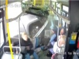 Camera Catches Moment Pickup Slams Into Side Of Bus