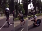 Cyclist Flips Over Handlebars After Getting Hit By Drone