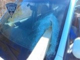 Driver Uninjured After Wooden Post Comes Through Windshield