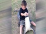 Father Teaches 5-year-old Son How To Wrestle Alligators
