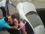 Family Rescued When Car Is Swallowed By Sinkhole In Peru