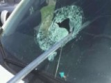 Fence Pole Smashes Through Windshield, Barely Avoids Driver