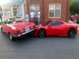 Ferrari Crushed By Mercedes In Epically Bad Parking Job