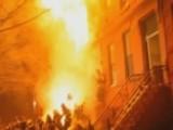 Flaming Debris Falls On, Injures Firefighters Battling Blaze