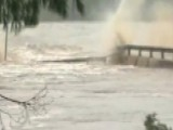 Floodwaters Destroy A Bridge Over The Llano River In Texas