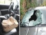 Giant Boulder Crashes Through Driver's Windshield
