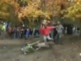 Hold The Phone: Spectator Calmly Hurdles Flying Motorbike