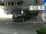 Horrific Collision: Car Completely Crushed By Cement Truck