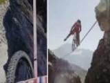 Insane Slackline Bike Ride 400 Feet Over French Alps
