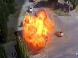 Massive Fireball Fills Intersection After Vehicles Collide