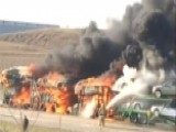 Massive Blaze Engulfs Truck And Trailer Full Of Cars