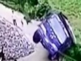 Man Jumps Out Of Truck Window Before It Falls Off Cliff