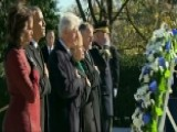 Obama Lays Wreath At JFK Memorial And Grave Site