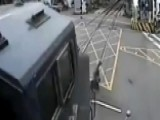 Oblivious Man Crossing Train Tracks Escapes Death By Inches