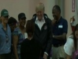 President And First Lady Meet Harvey Victims At NRG Center