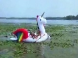 Police Save Women Stranded On Unicorn Raft