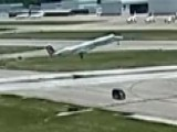 Plane Narrowly Misses Van Crossing Runway