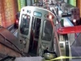Surveillance Video Shows Train Smash Into O'Hare Platform