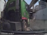 Swerving Truck Crushes Car Into Guard Rail