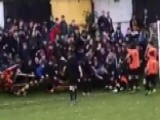 Soccer Players Crushed By Fans Celebrating Goal