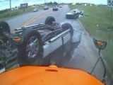 Scary Head-on Crash In Front Of School Bus Caught On Camera