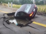 Sinkhole Swallows Uber Car In California