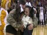 Soldier Dad Surprises Twin Cheerleaders At Basketball Game