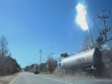 Sparks Fly As Out-of-control Semi Crashes Into Power Line