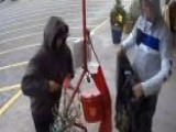 Salvation Army Donation Kettle Stolen By Two Grinches