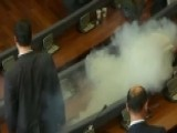 Tear Gas Released During Kosovo Parliament Meeting