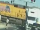 Train Plows Into A Tractor Trailer In California