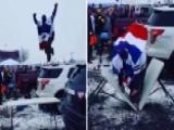 Warning, Graphic Video: Fan Jumps Off Car, Destroys His Leg