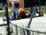Wind Gust Takes Bounce House Airborne