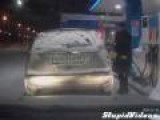 Girl Sets Gas Pump On Fire