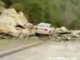 Man Drives Into Rock Slide