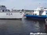 Boat Slowly Crashes In Harbor