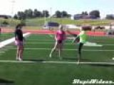 Cheerleader Kicks Herself