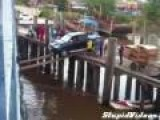 Car Boards Ship On Narrow Planks