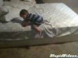Clever Boy Uses Pillows As Ladder