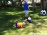 Dad Owns Son With Soccer Ball Twice