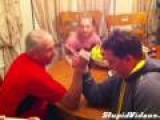 Grandpa Battles Son At Arm Wrestling
