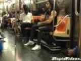 Guy Plays Air Drums On Subway