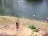 Girl Fails Rope Swing