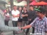Jerk Messes With Living Statue Gets Rocked