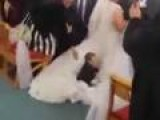 Kid Takes Amazing Leap Onto Wedding Dress